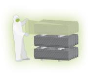 Imballaggio delle lamine di Amianto (Eternit) prima dello smaltimento